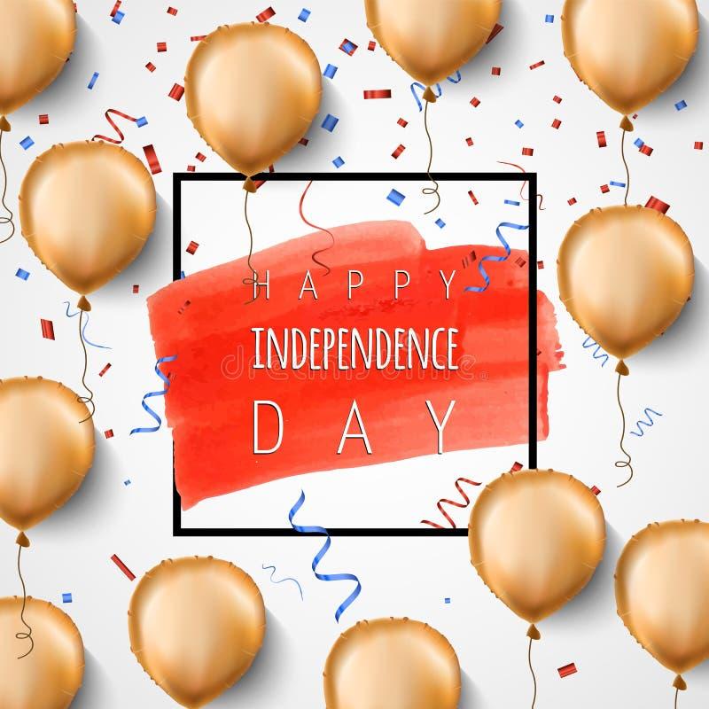Счастливый День независимости США Воздушные шары и confetti сусального золота вектор Предпосылка торжества для 4-ое -го июль ульт бесплатная иллюстрация