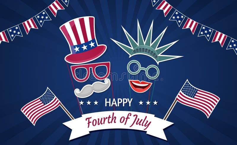 Счастливый День независимости США четвертое -го июль Патриотические атрибуты, приглашение партии иллюстрация вектора