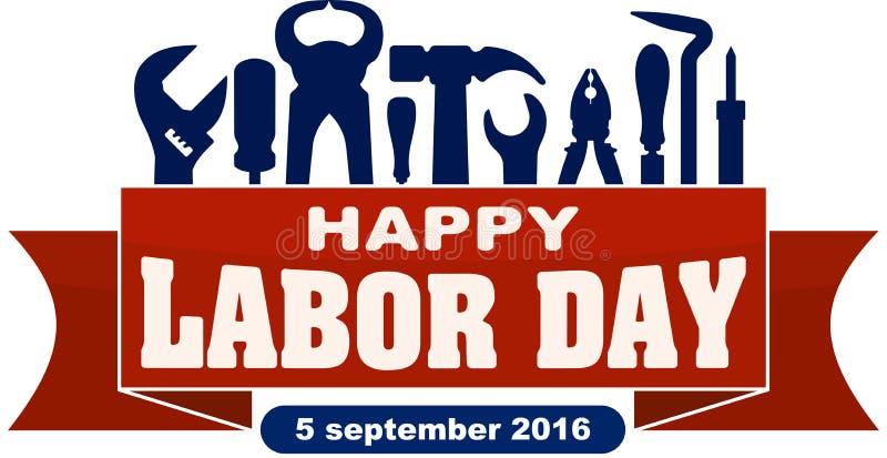 Счастливый День Трудаа празднуя знамя с силуэтами работников t иллюстрация вектора