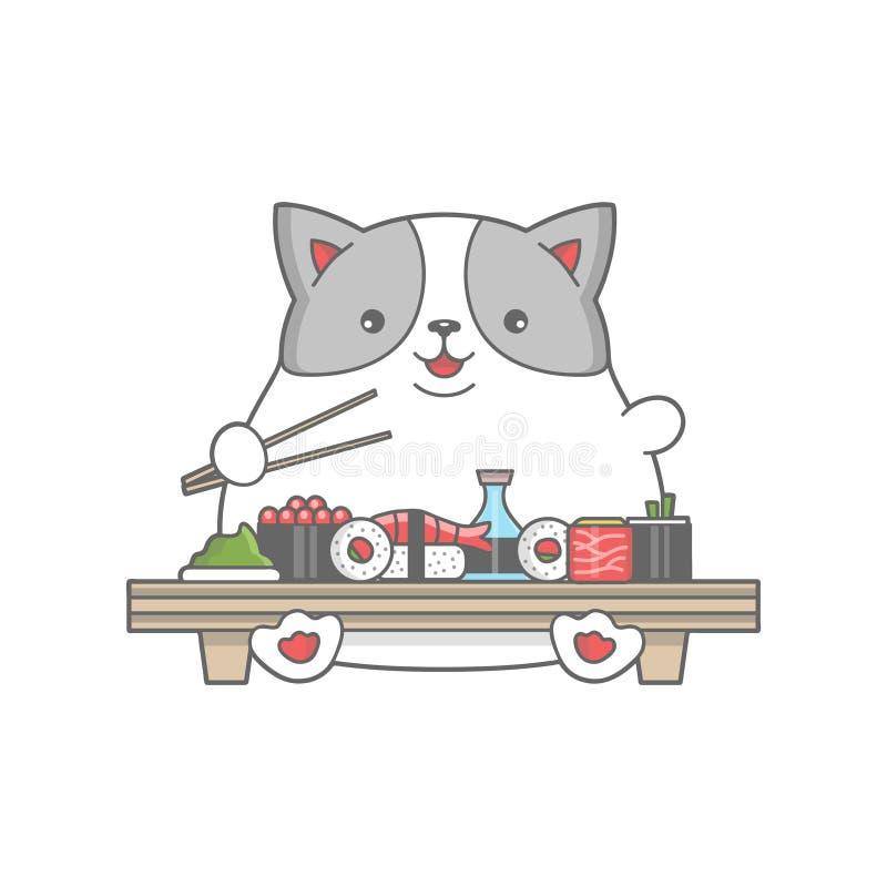 Счастливый денежный мешок ест суши иллюстрация штока