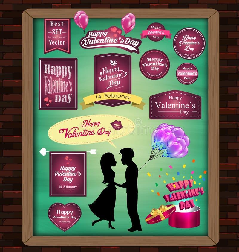 Счастливый день валентинки с комплектом элементов мега стикеров, знаки, ярлыки, сердце, настоящий момент, шаблон дизайна подарка бесплатная иллюстрация