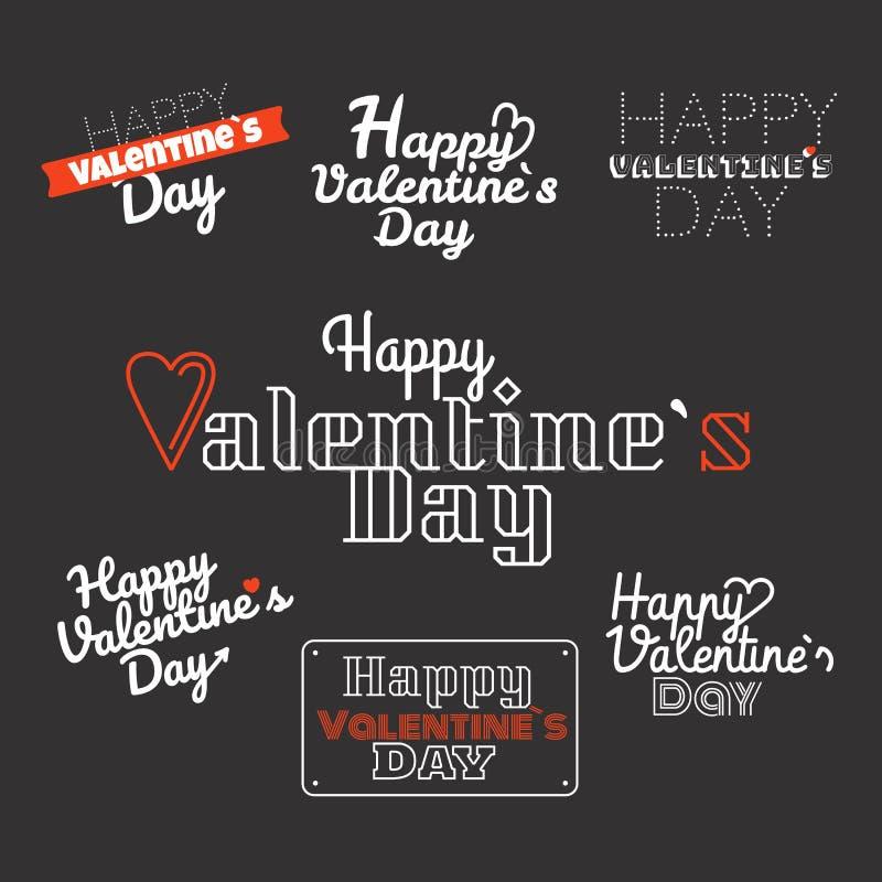 Счастливый день валентинок желает комплект логотипа Вектор валентинок обозначает c иллюстрация штока