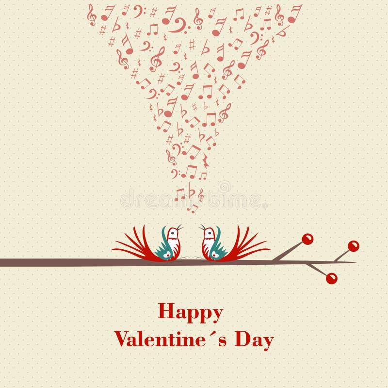 Счастливый день валентинок. 2 птицы flirting и поя на ветви. бесплатная иллюстрация