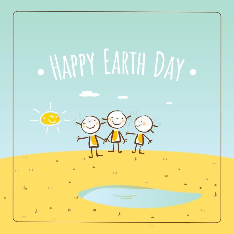 Счастливый день земли иллюстрация вектора