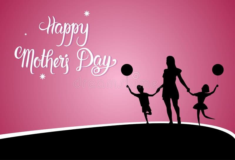 Счастливый день матери, мама силуэта держа руки детей, знамя поздравительной открытки праздника весны иллюстрация штока
