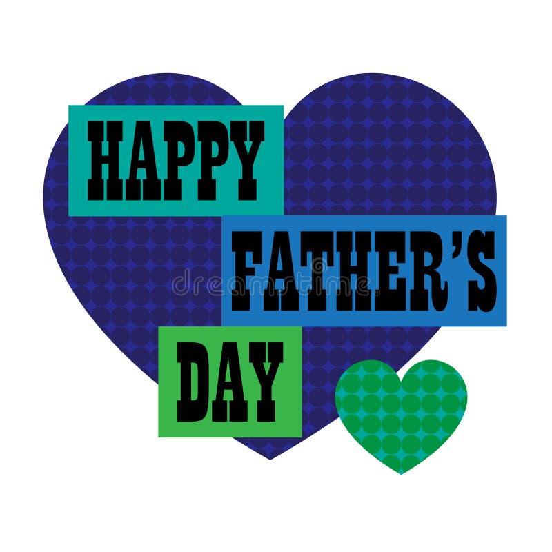 Счастливый день отцов с голубым сердцем точки польки иллюстрация штока
