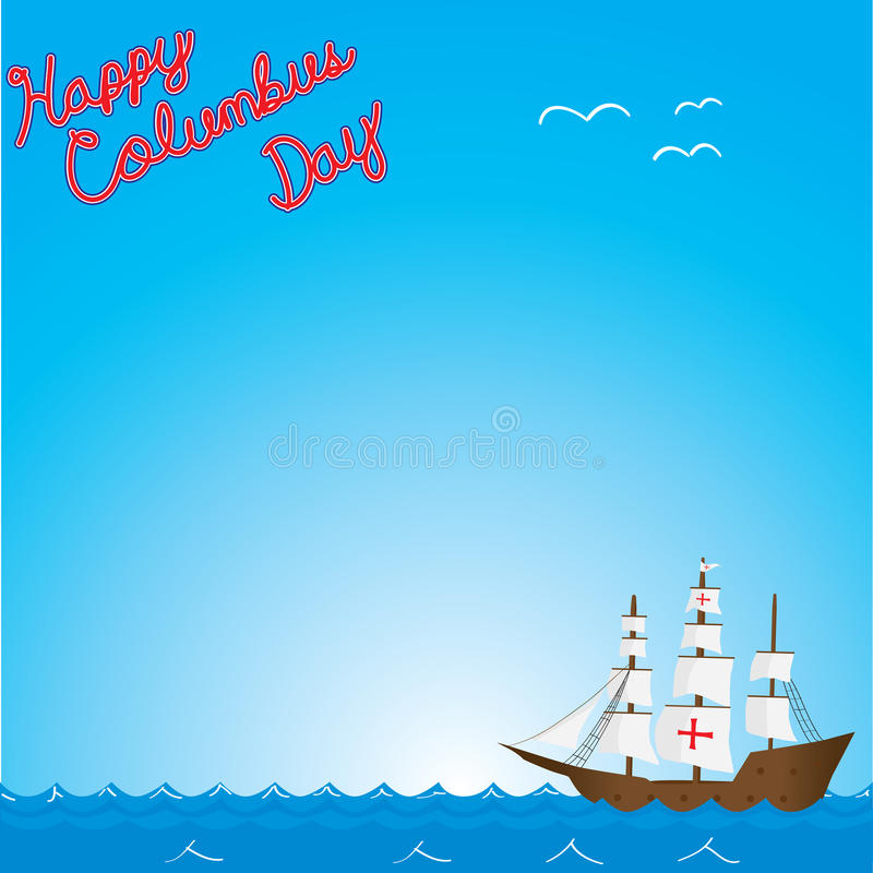 Счастливый день columbus иллюстрация вектора