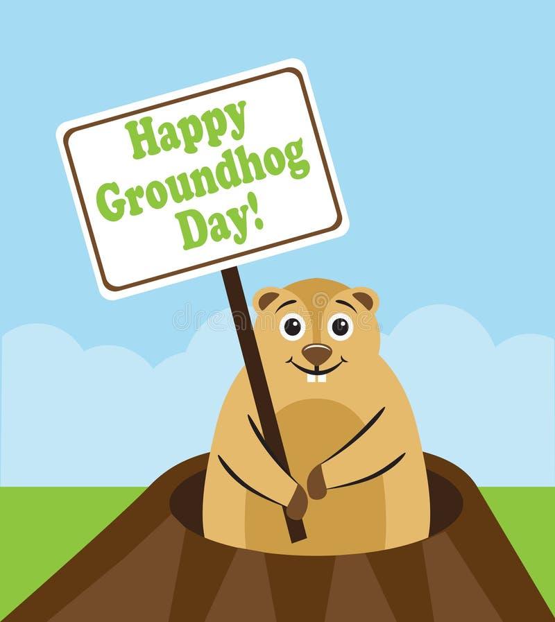 Счастливый день Groundhog иллюстрация вектора