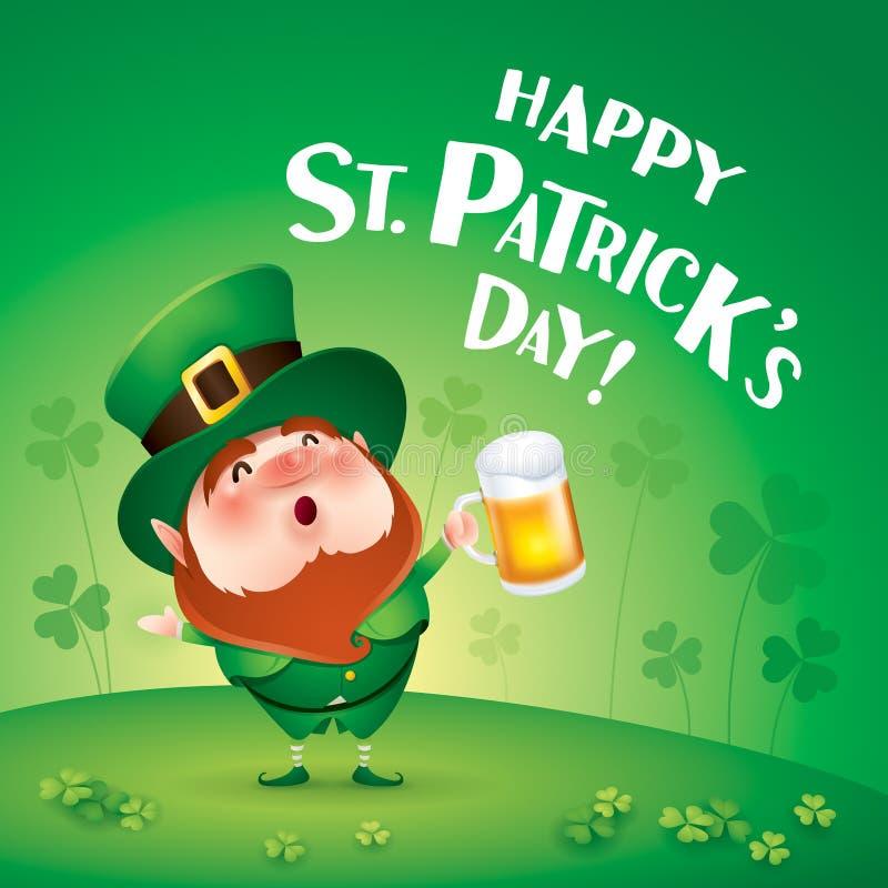 Счастливый день Patricks Святого! Лепрекон на поле клевера бесплатная иллюстрация