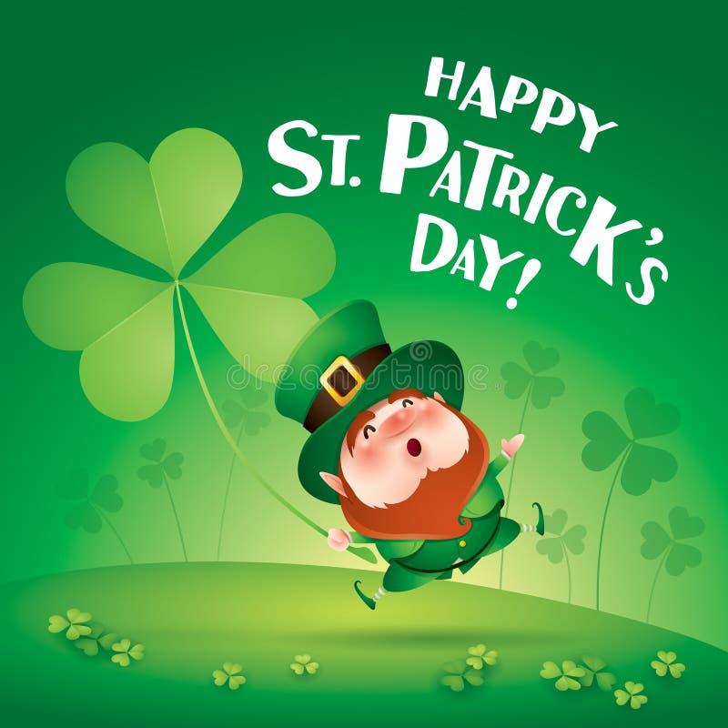 Счастливый день Patricks Святого! Лепрекон на поле клевера иллюстрация вектора