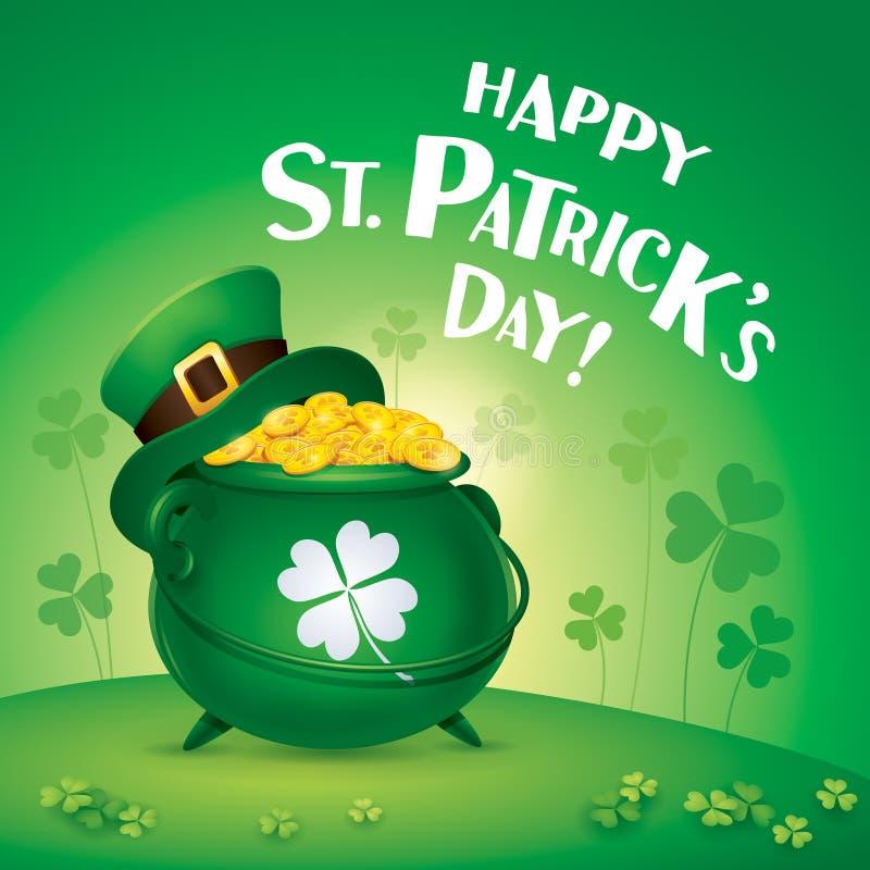 Счастливый день Patricks Святого! Символ дня St Patricks Бак золота иллюстрация штока