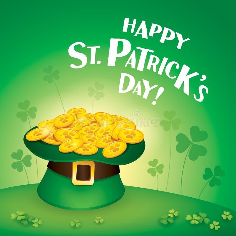 Счастливый день Patricks Святого! Шляпа лепрекона заполненная с золотом иллюстрация вектора