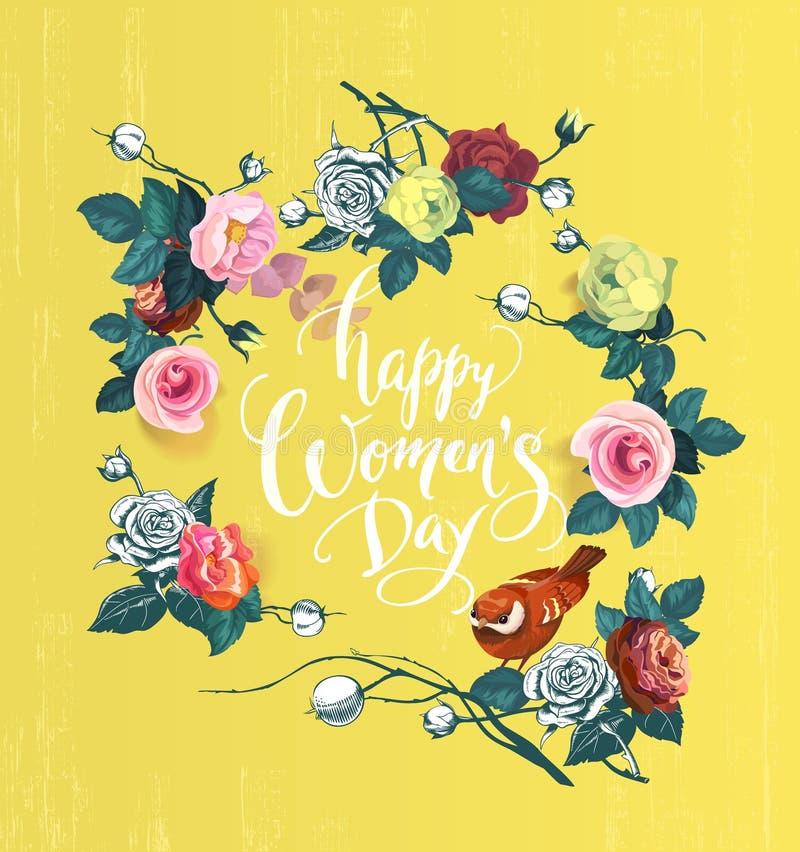 Счастливый день ` s женщин Вручите литерность окруженную цвета полу пуками розовых цветков, листьев зеленого цвета и птицы против бесплатная иллюстрация