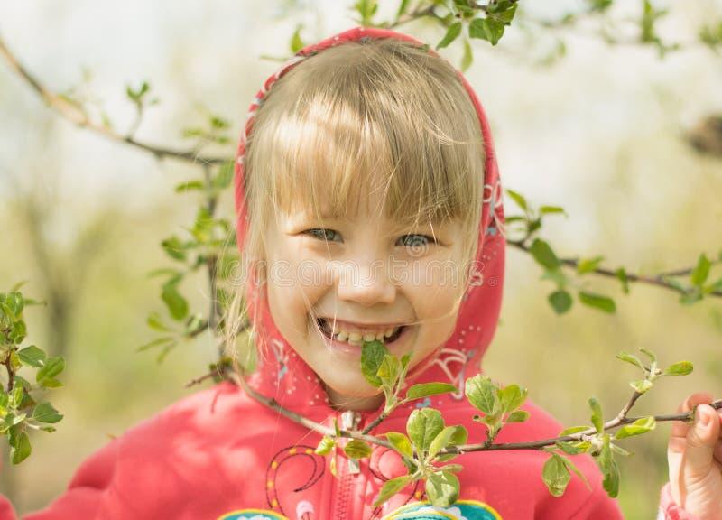 Счастливый лес маленькой девочки весной стоковые изображения rf