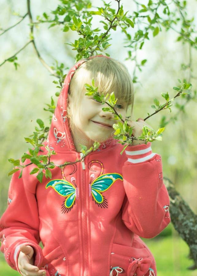 Счастливый лес маленькой девочки весной стоковые фотографии rf