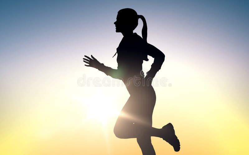 Счастливый детеныш резвится женщина бежать outdoors иллюстрация штока