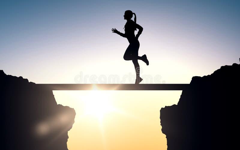 Счастливый детеныш резвится женщина бежать outdoors бесплатная иллюстрация
