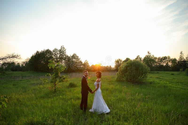 Счастливый жених и невеста на заходе солнца стоковая фотография rf