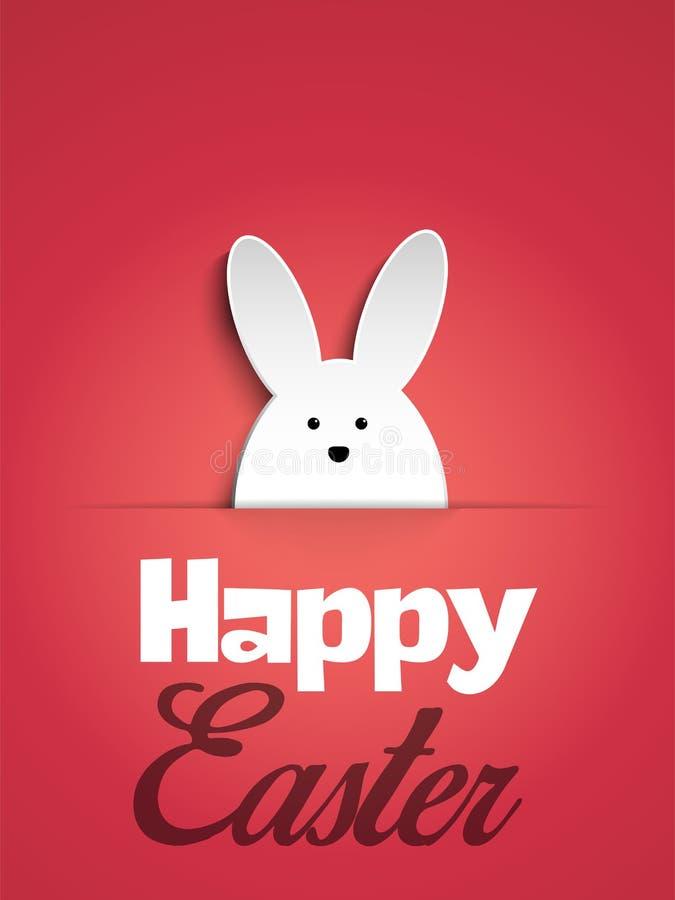 Счастливый зайчик кролика пасхи на розовой предпосылке иллюстрация штока