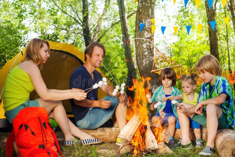 Счастливый зефир жарки семьи над огнем стоковое фото rf