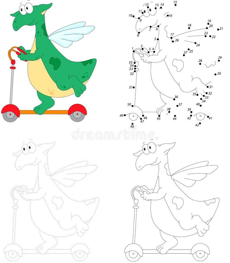 Счастливый зеленый дракон ехать самокат пинком Точка для того чтобы поставить точки образование бесплатная иллюстрация