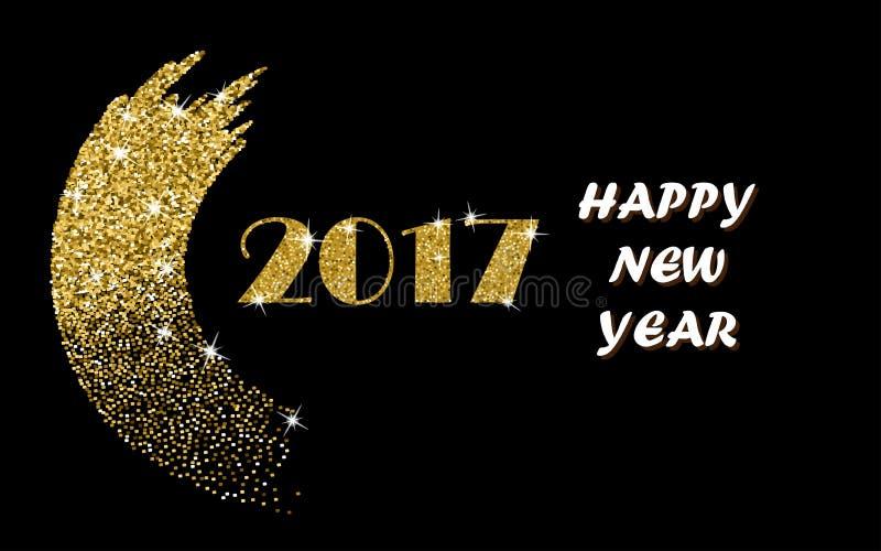Счастливый дизайн вектора золота Нового Года 2017 с щеткой хода яркого блеска на черной предпосылке Золотой плакат Нового Года яр иллюстрация штока