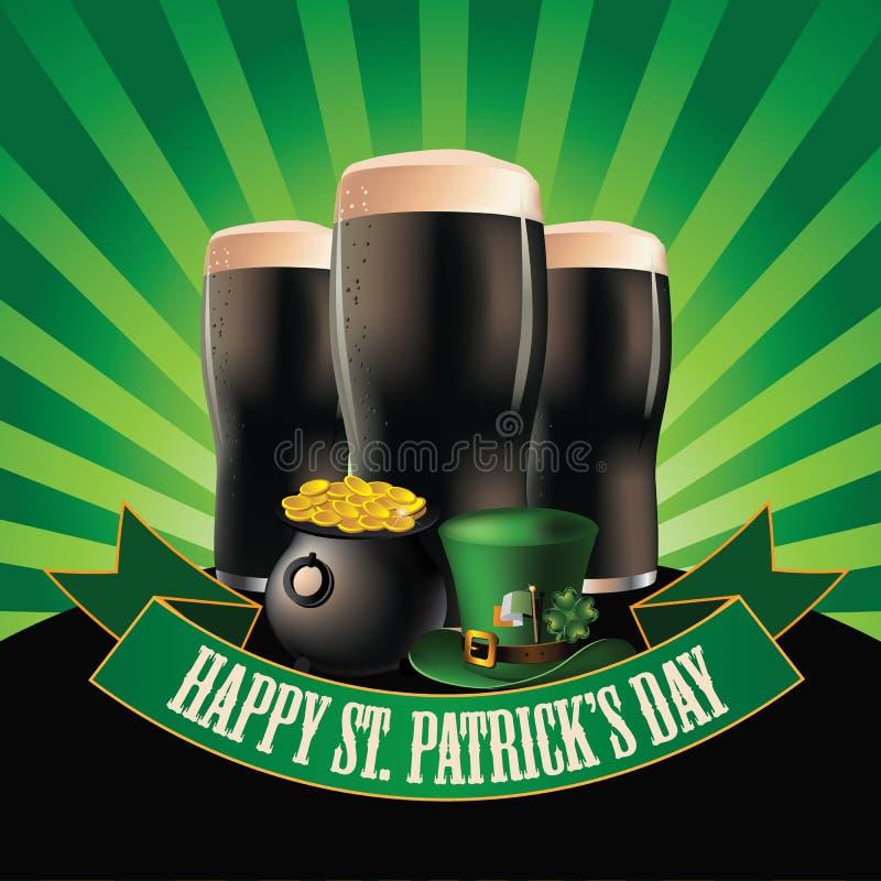 Счастливый дизайн взрыва темного пива дня Patrick's Святого иллюстрация вектора