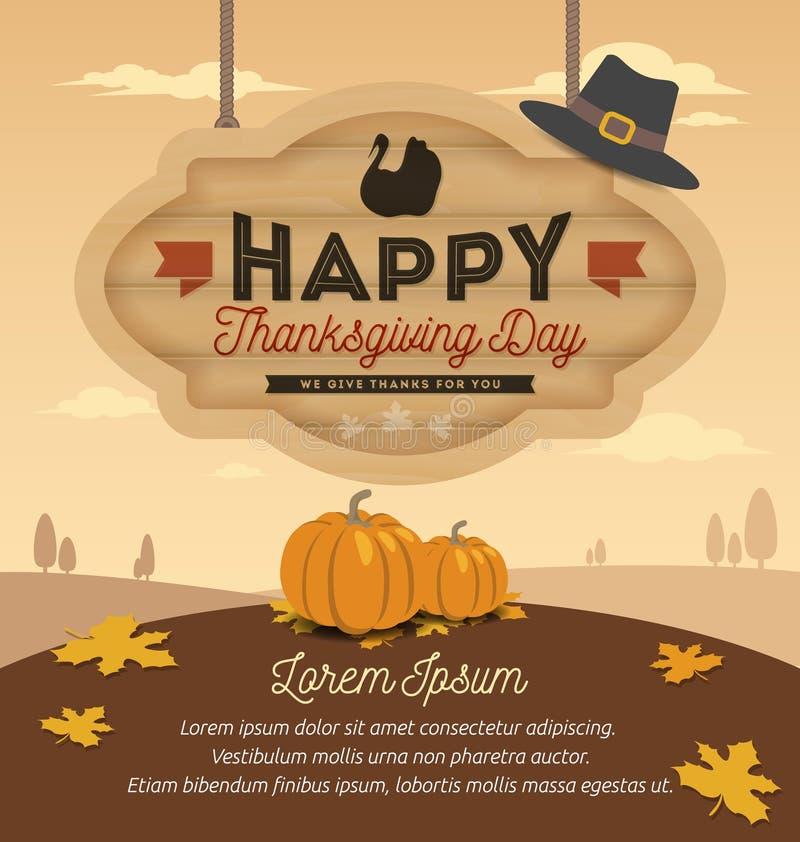 Счастливый дизайн карточки благодарения бесплатная иллюстрация