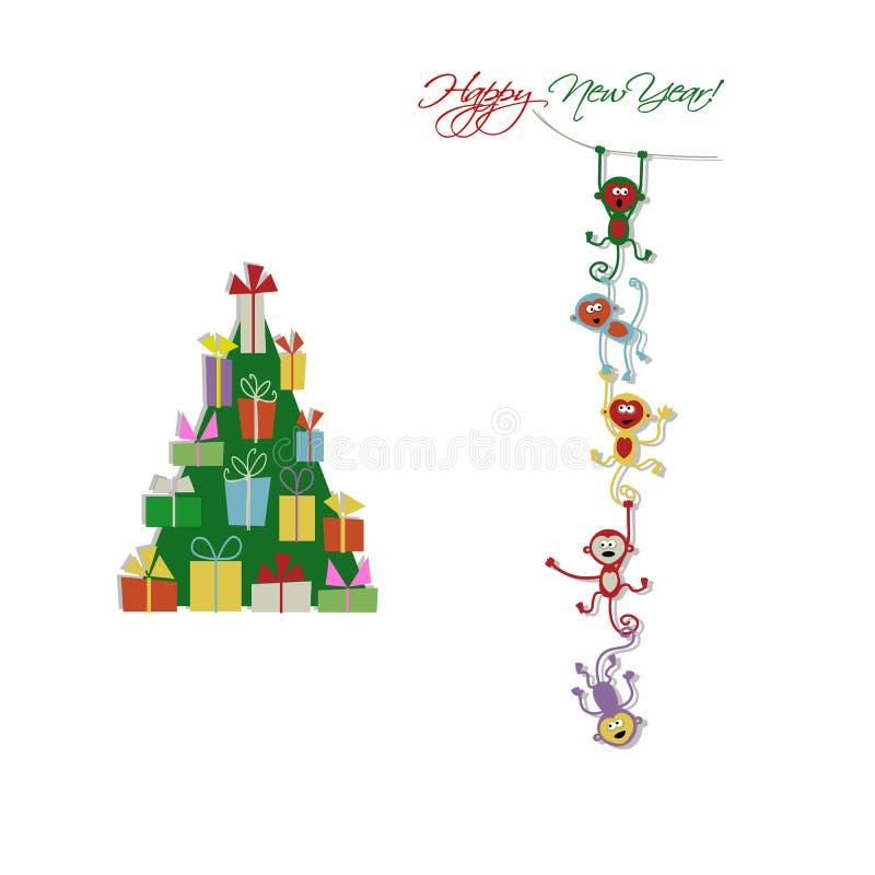 Счастливый дизайн карточки Нового Года с смешными обезьянами бесплатная иллюстрация