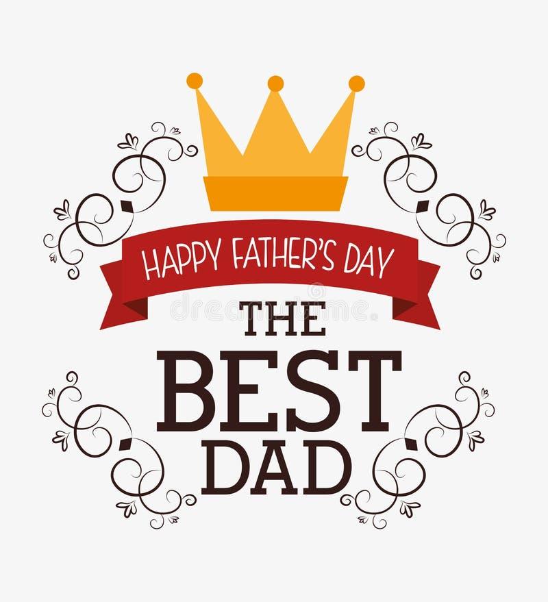 Счастливый дизайн карточки дня отцов иллюстрация штока