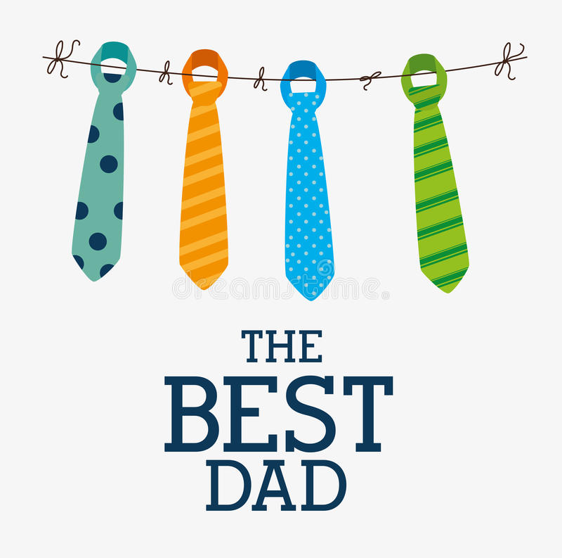 Счастливый дизайн карточки дня отцов бесплатная иллюстрация