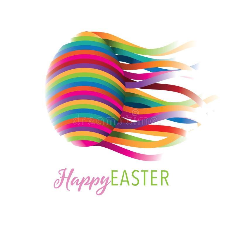 Счастливый дизайн пасхи с красочным яичком бесплатная иллюстрация