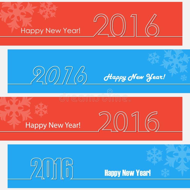 Счастливый дизайн плана Нового Года 2016 Счастливые знамена Новый Год иллюстрация вектора