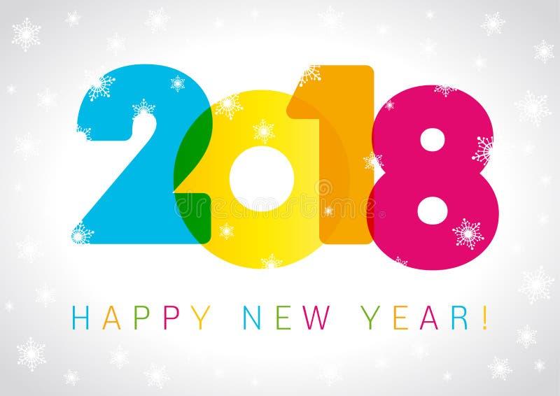 Счастливый дизайн текста карточки Нового Года 2018 иллюстрация штока