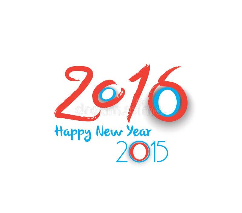 Счастливый дизайн текста Нового Года 2016 иллюстрация штока