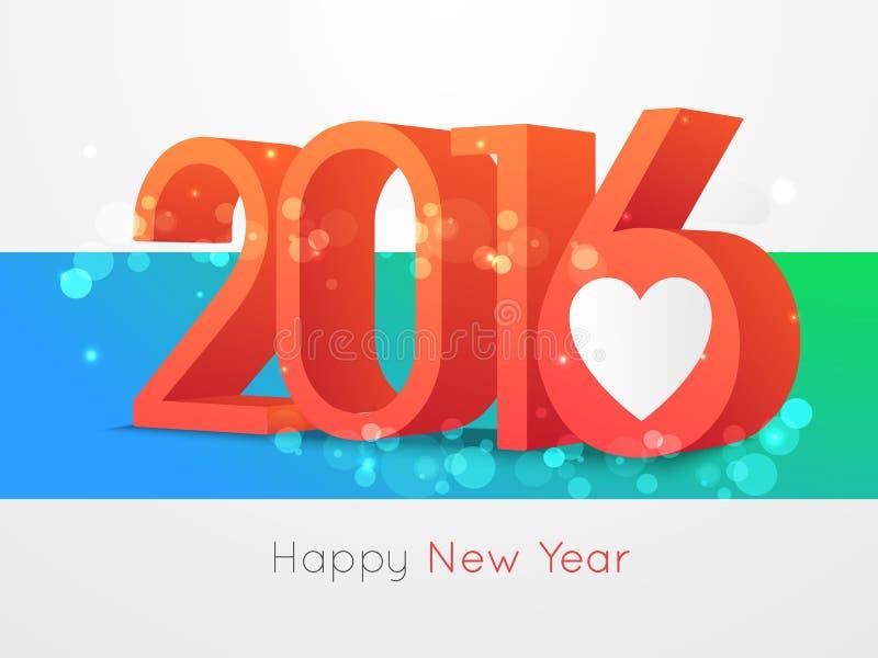 Счастливый дизайн текста Нового Года 2016 стоковая фотография
