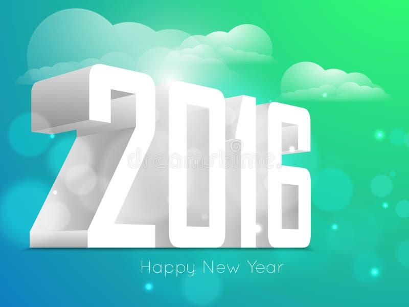 Счастливый дизайн текста Нового Года 2016 стоковая фотография rf
