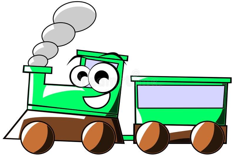 Счастливый изолированный шарж поезда иллюстрация штока