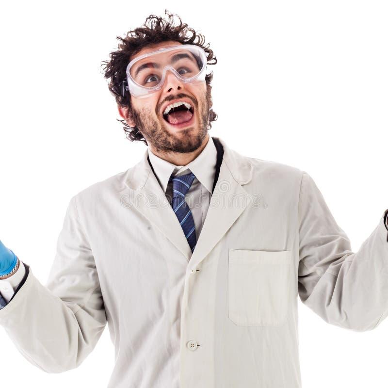 Счастливый и удивленный исследователь стоковое изображение rf