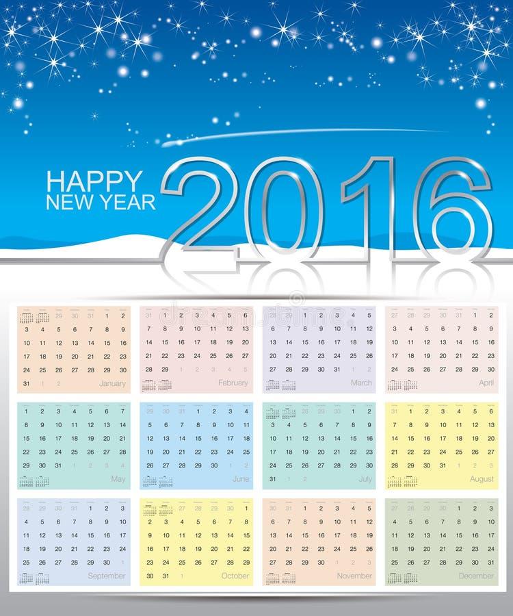 Счастливый календарь Нового Года 2016 иллюстрация вектора