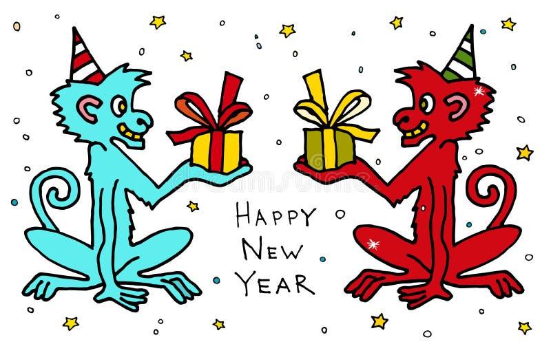 Счастливый китайский новый вектор шаржа 2016 год красочный monkeys макака с настоящими моментами карточка 2007 приветствуя счастл бесплатная иллюстрация