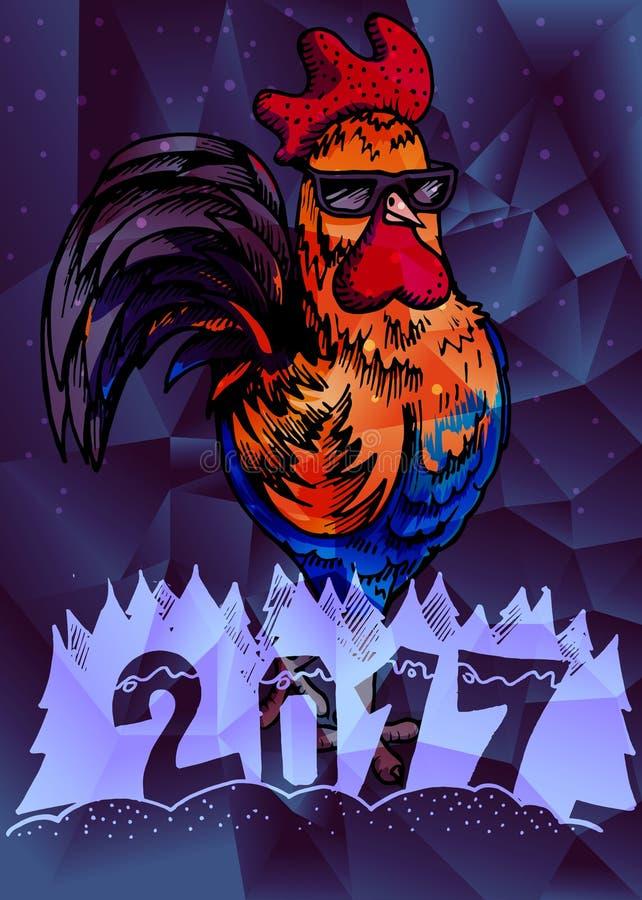Счастливый китайский Новый Год 2017, абстрактный дизайн цвета низко поли иллюстрация штока