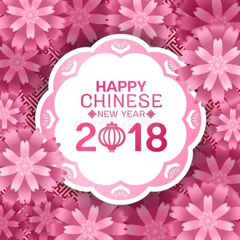 Счастливый китайский текст Нового Года 2018 на белом знамени круга и вектор предпосылки конспекта цветения цветков Сакуры пинка к иллюстрация вектора