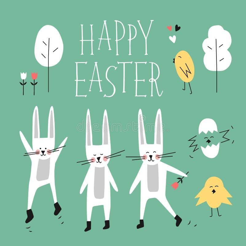 Счастливый комплект вектора пасхи Зайчик, кролик, цыпленок, дерево, цветок, сердце, помечая буквами фразу Элементы леса весны для иллюстрация вектора