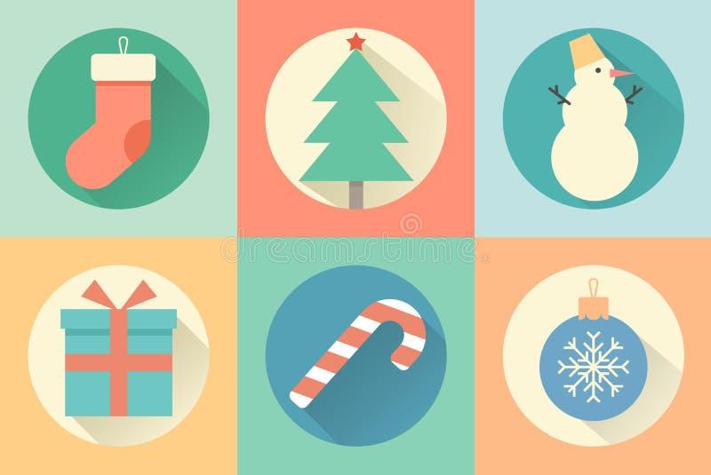 Счастливый комплект Нового Года значка бесплатная иллюстрация