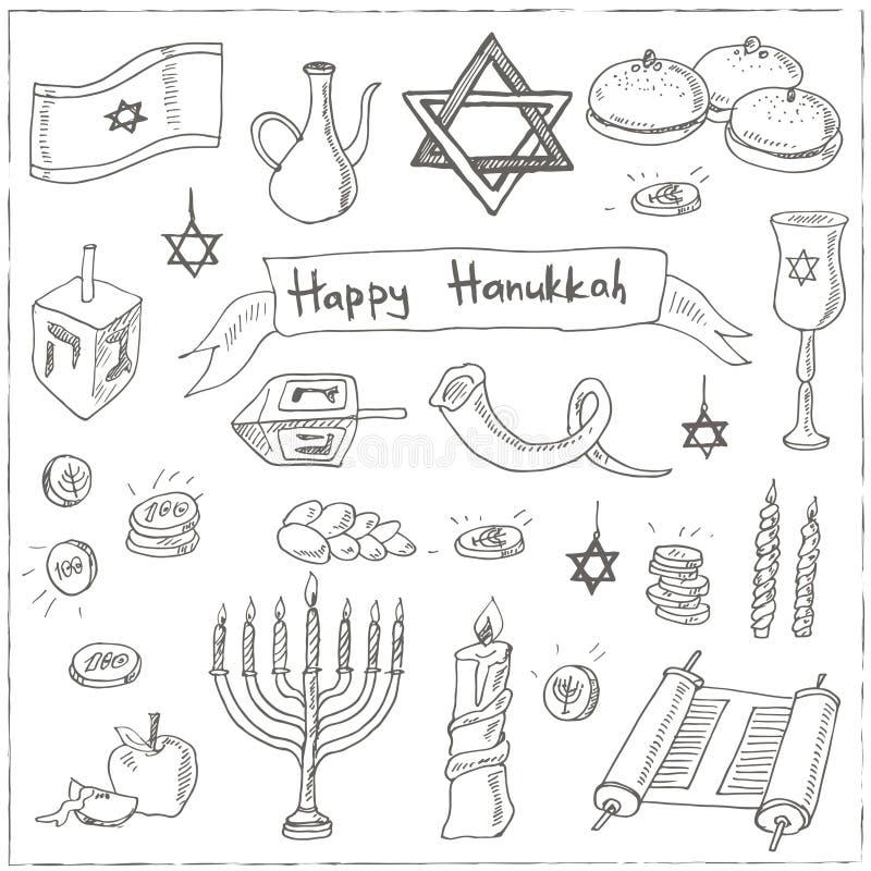 Счастливый комплект doodle Хануки сбор винограда милой иллюстрации птиц установленный