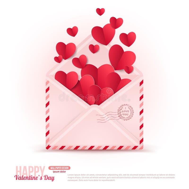 Счастливый конверт дня валентинок с бумажными сердцами иллюстрация вектора