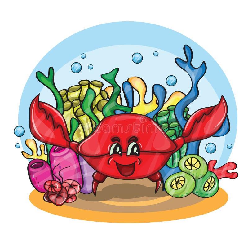 Счастливый краб в океане иллюстрация вектора