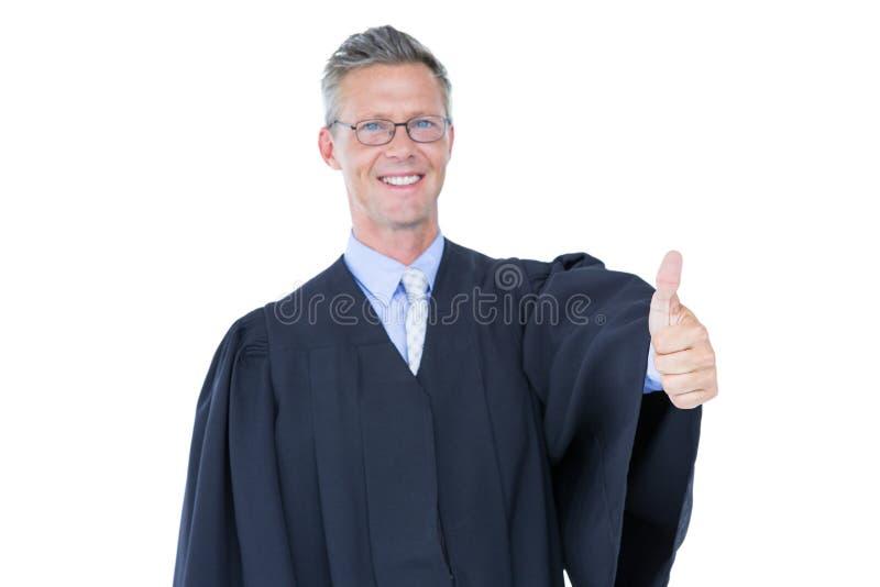 Счастливый красивый большой палец руки юриста вверх стоковые изображения rf