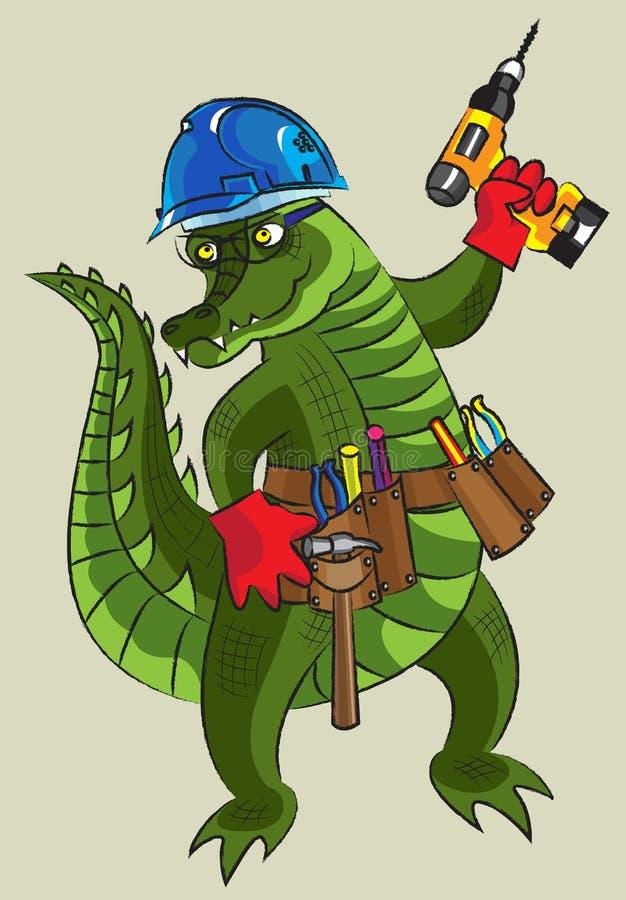 Счастливый крокодил - строитель иллюстрация штока